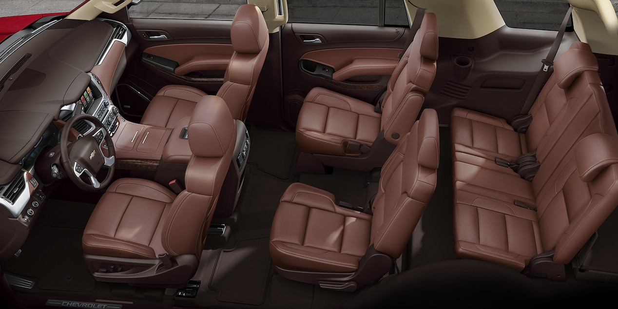 2017 Chevy Tahoe Interior with Cocoa/­Mahogany Perforated Leather-trimmed Seats