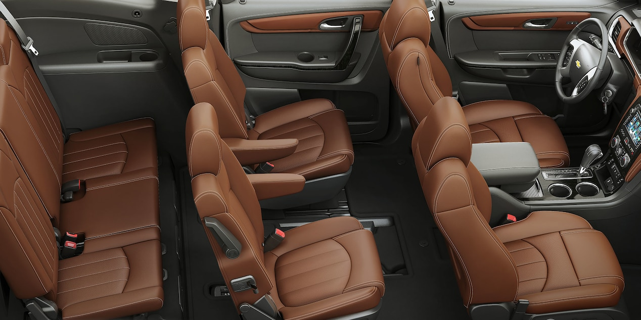 2017 Chevy Traverse Interior with Ebony/­ Saddle-Up Perforated Leather-trimmed Seats